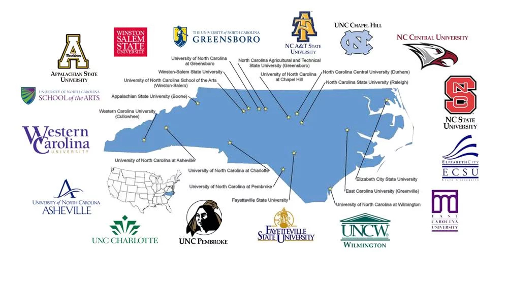 The University of North Carolina System Logo Map